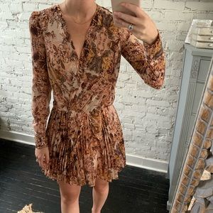 Pleated Floral Long Sleeve Formal Dress